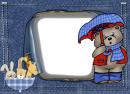 Meškiukas su skėčiu